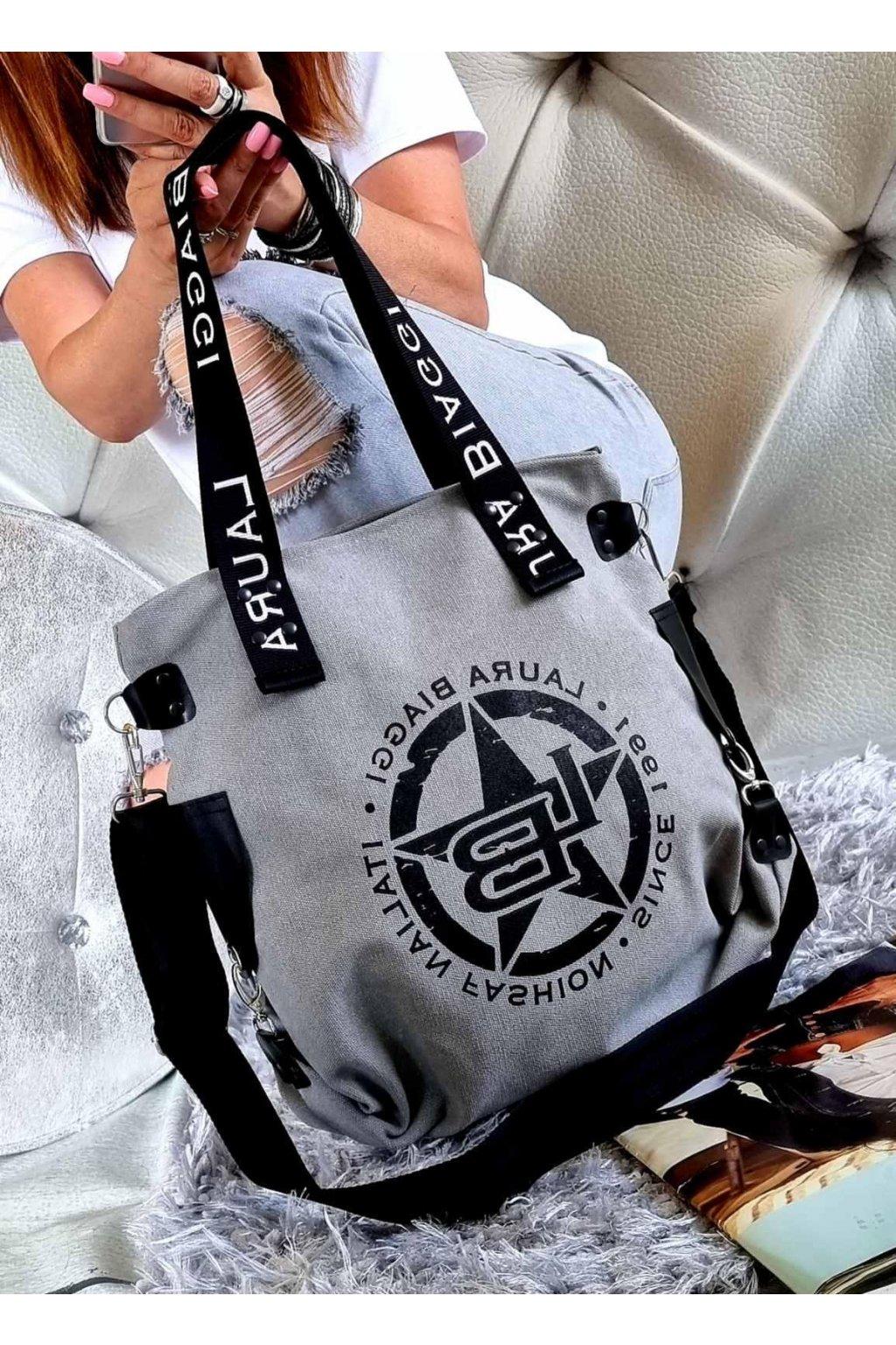 Harley šedá značková kabelka laura biaggi luxusní kabelka