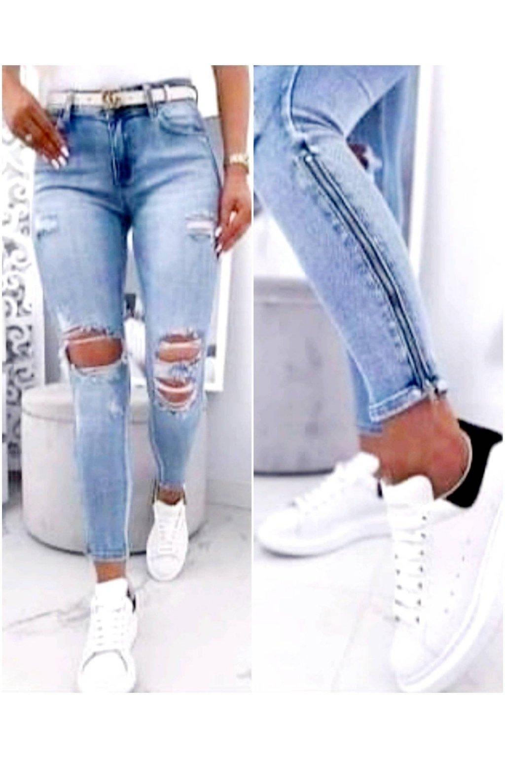 jeans světle modré trhané s elastanem trendy