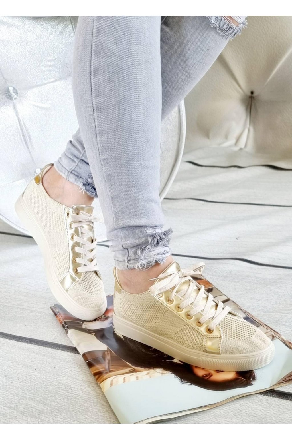 tenisky SENDY béžové plátěné trendy