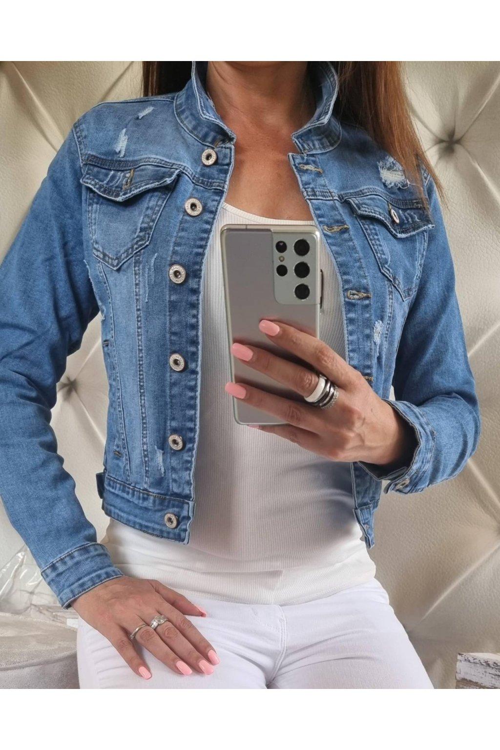 dámská džínová bunda trendy elastická modrá trhaná