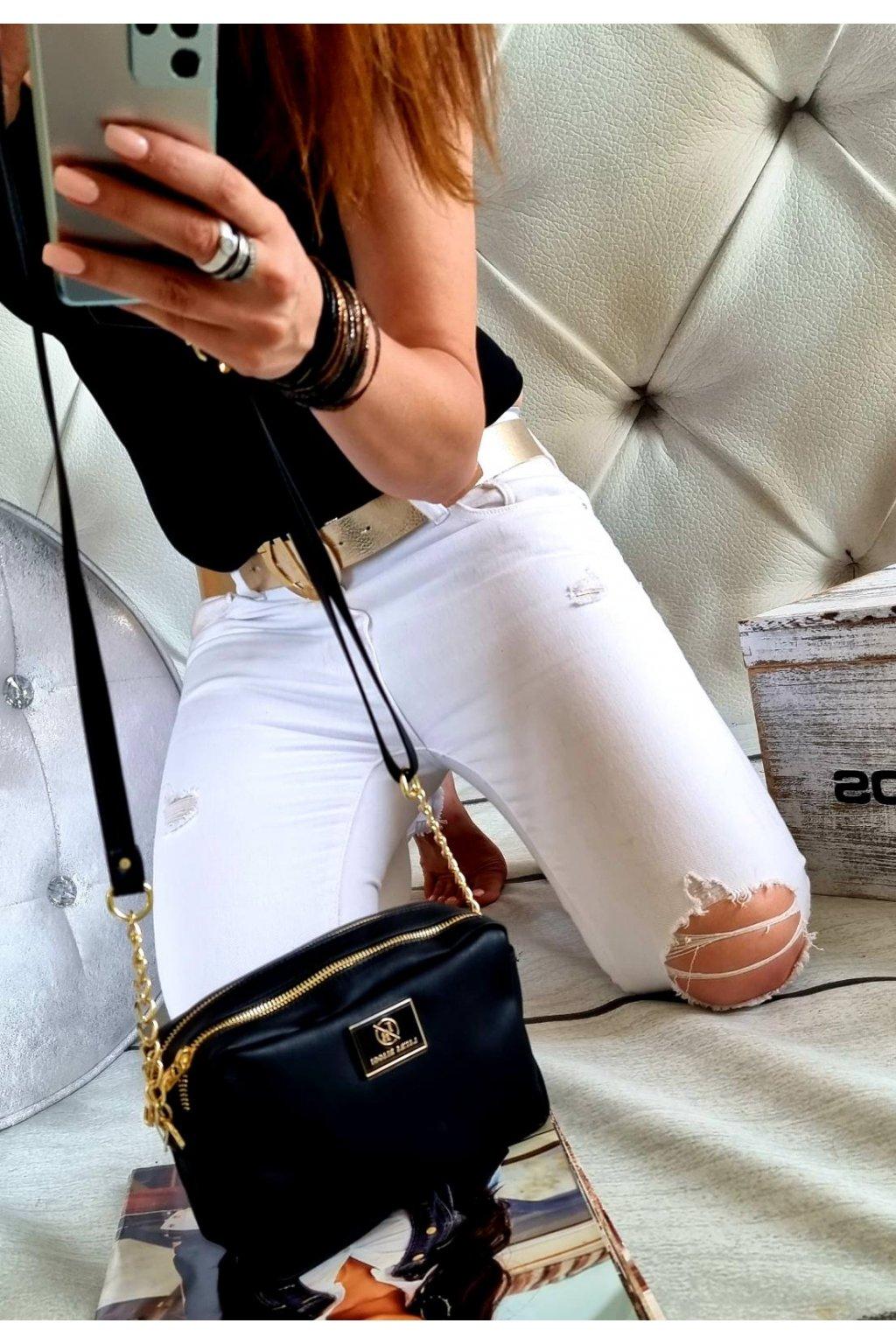 crossbody laura biaggi černá značková kabelka luxusní black