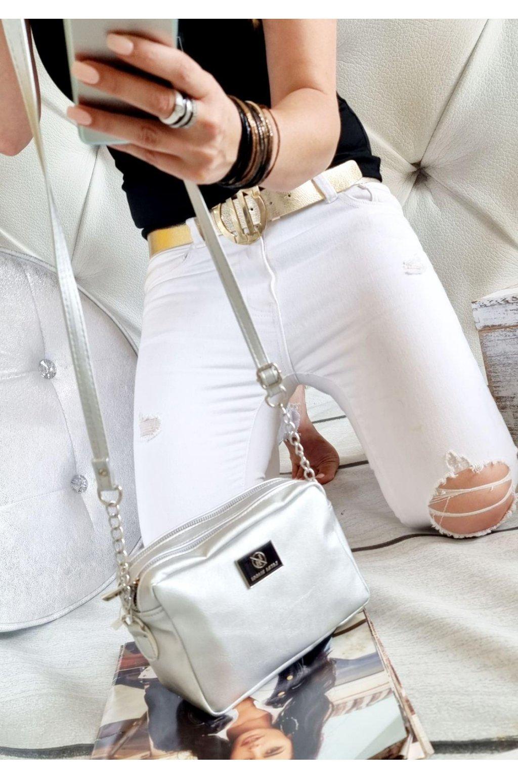 crossbody laura biaggi STŘÍBRNÁ značková kabelka luxusní