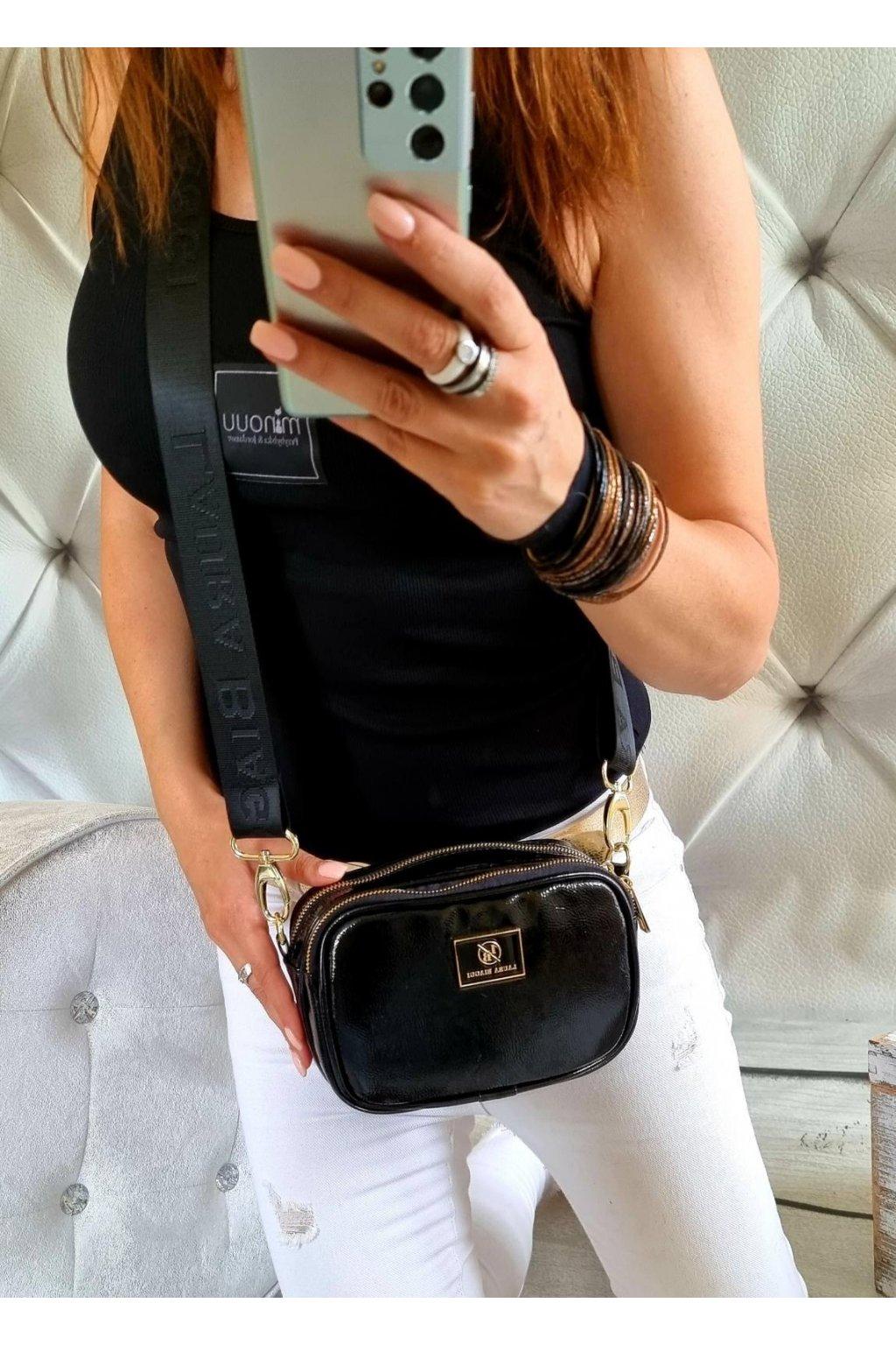 crossbody laura biaggi černá značková luxusní kabelka dvouzipá