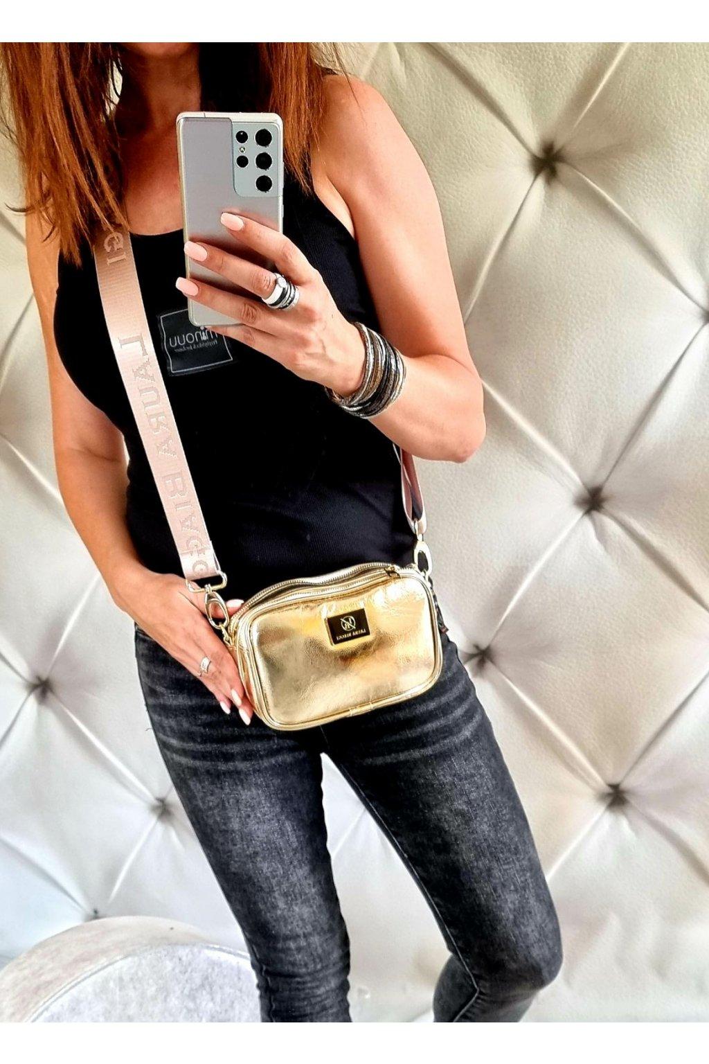 crossbody laura biaggi zlatá značková luxusní kabelka dvouzipá