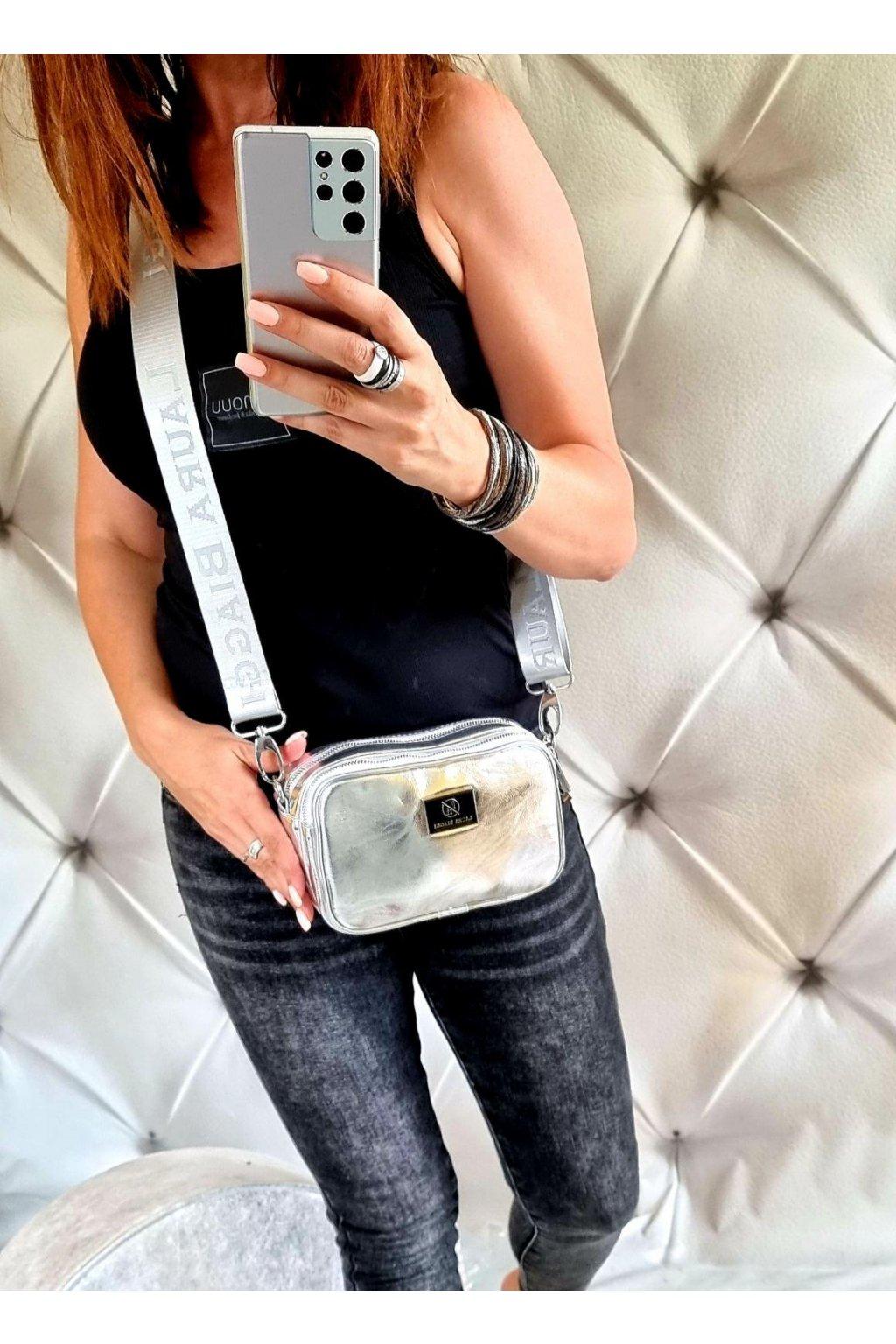 crossbody laura biaggi silver značková luxusní kabelka crossbody