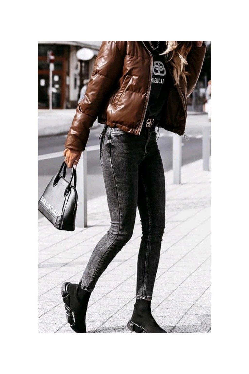 jeans černé jednoduché větší velikosti trendy s elastanem