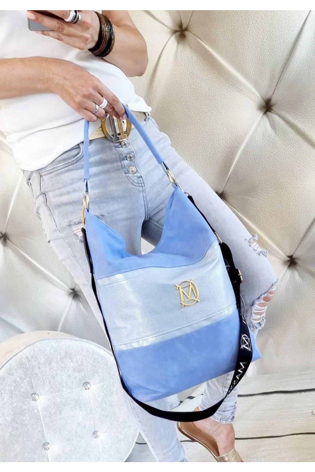 massimo contti značková kabelka pytel luxusní modrá