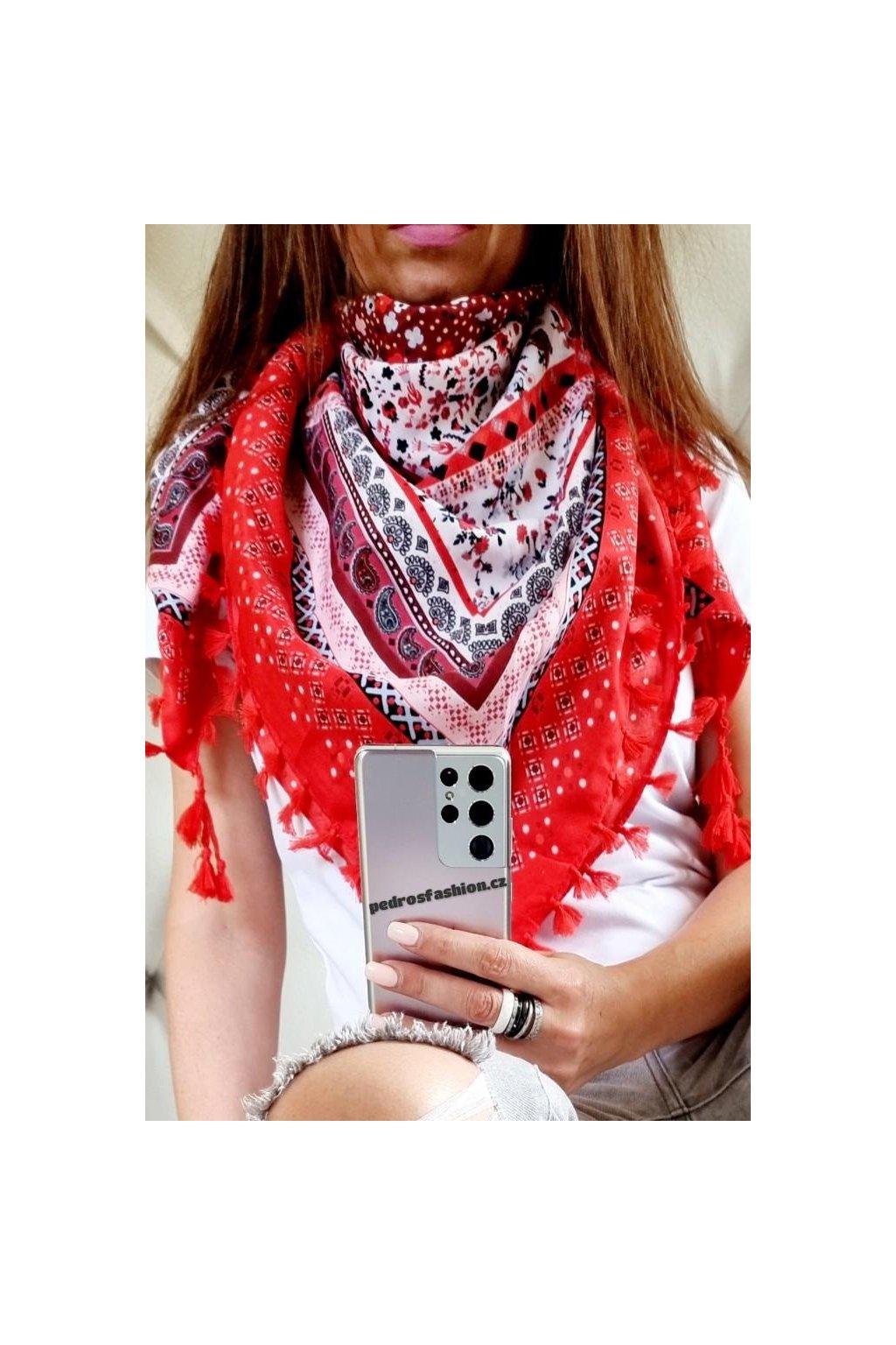 sefaris červený maxišátek čtverec bavlna