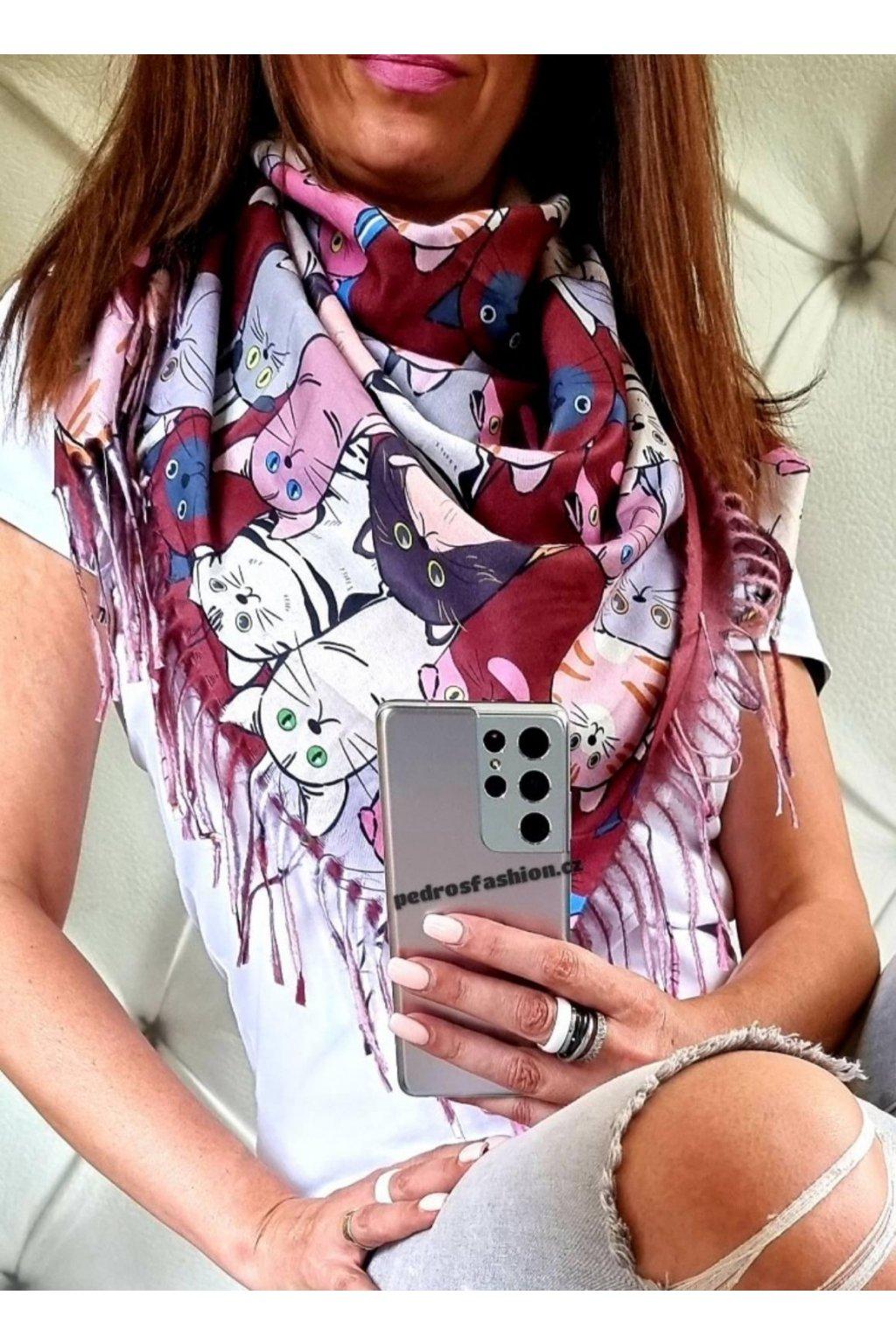 šátek kočka bordó trendy šátek kašmír