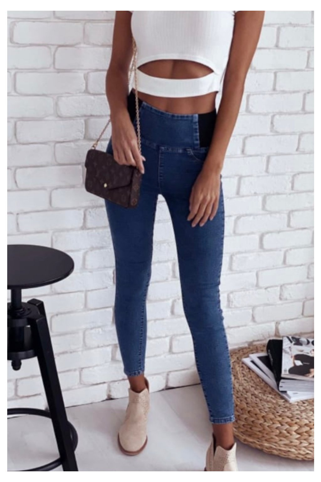 dámské jeans legíny modré menší i větší velikosti