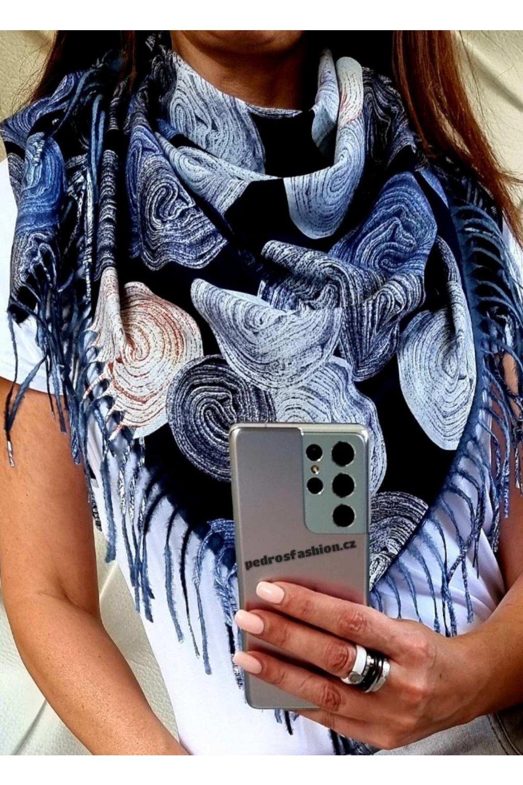 šátek round černý trendy kašmír