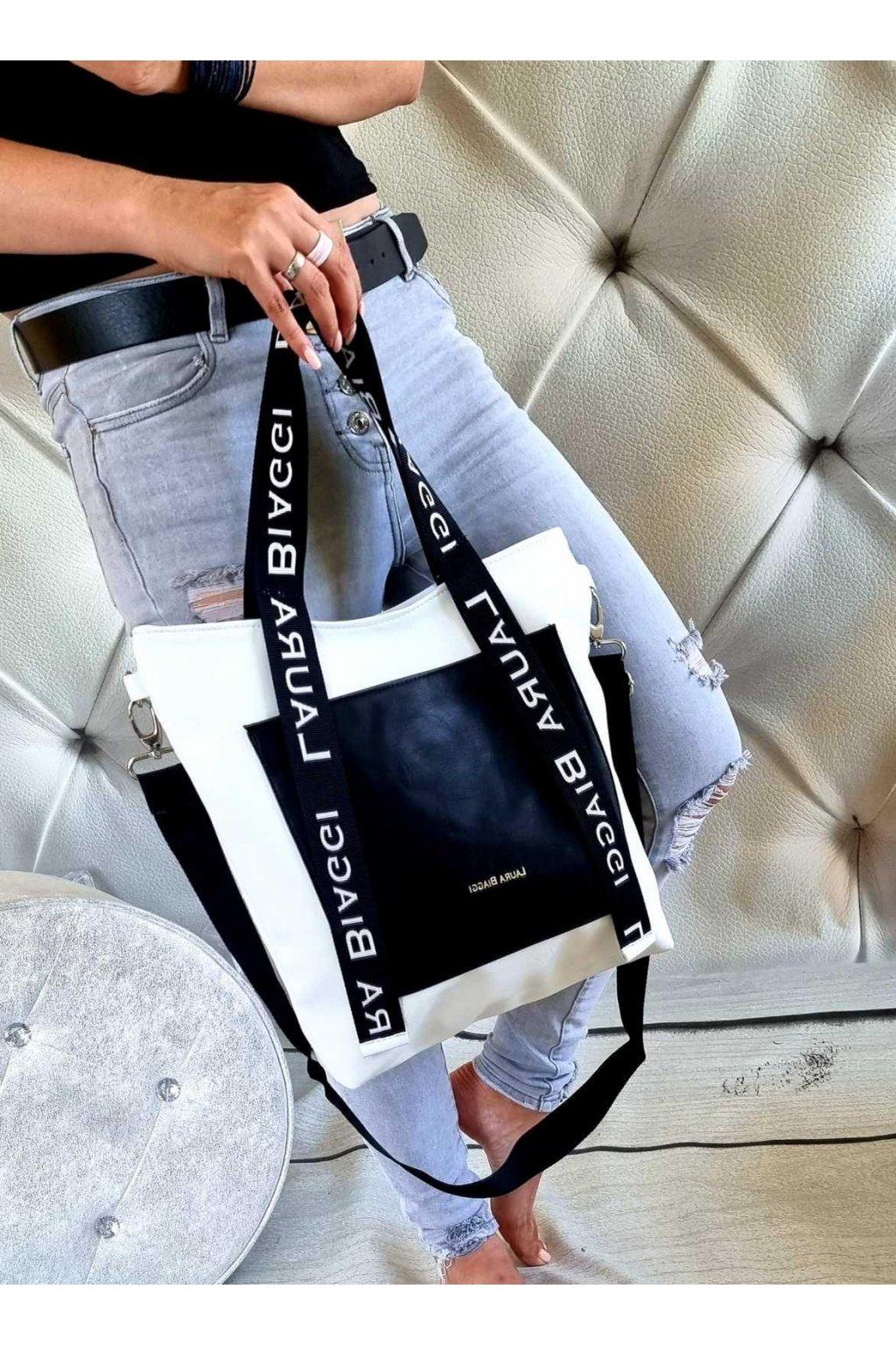 kabelka srndy černobílá laura biaggi značková luxusní kabelka