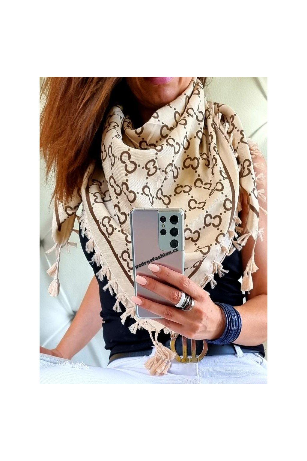 šátek trendy béžový luxusní šátek bavlna