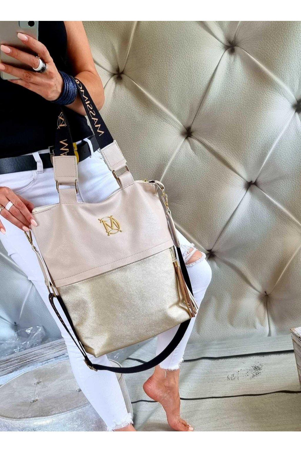 kabelka massimo contti béžovozlatá značková luxusní kabelka trendy
