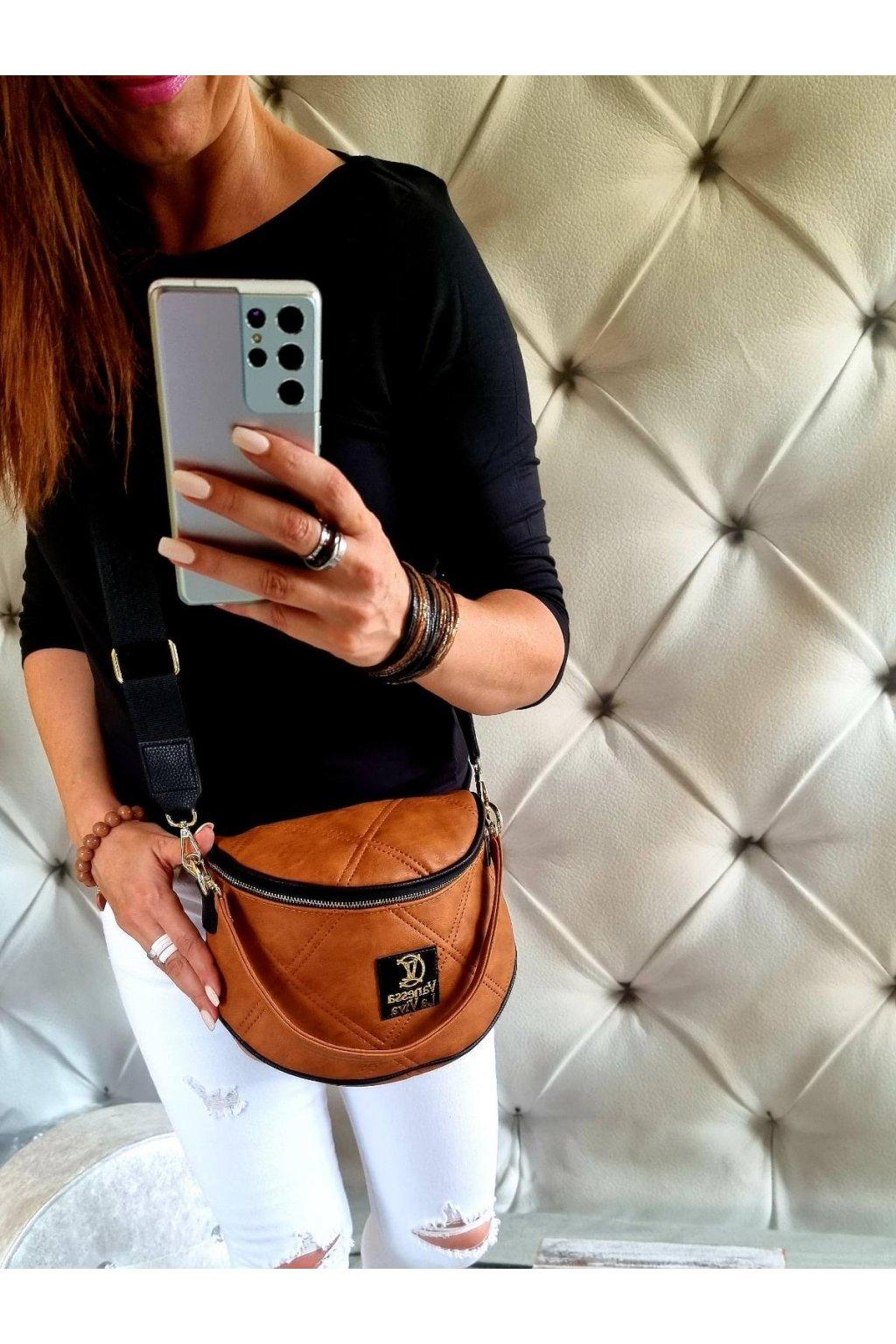 crossbody kabelka značková luxusní trendy vittoria lucca II koňak