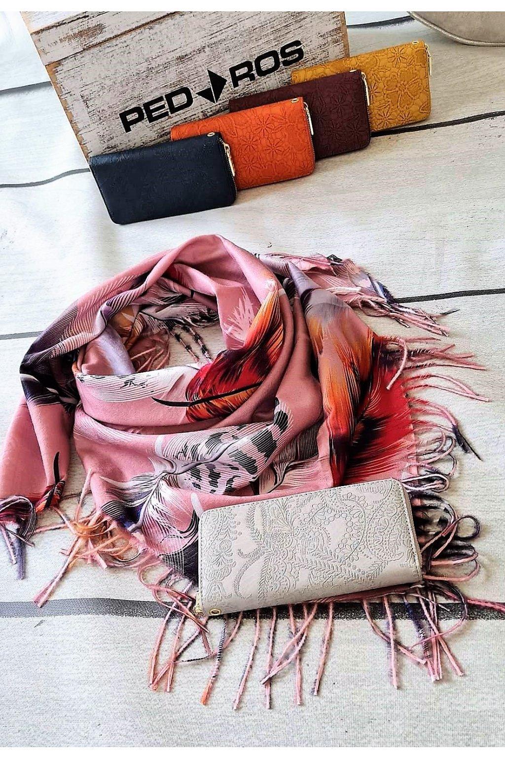 Set šatku a peněženky růžová šedá