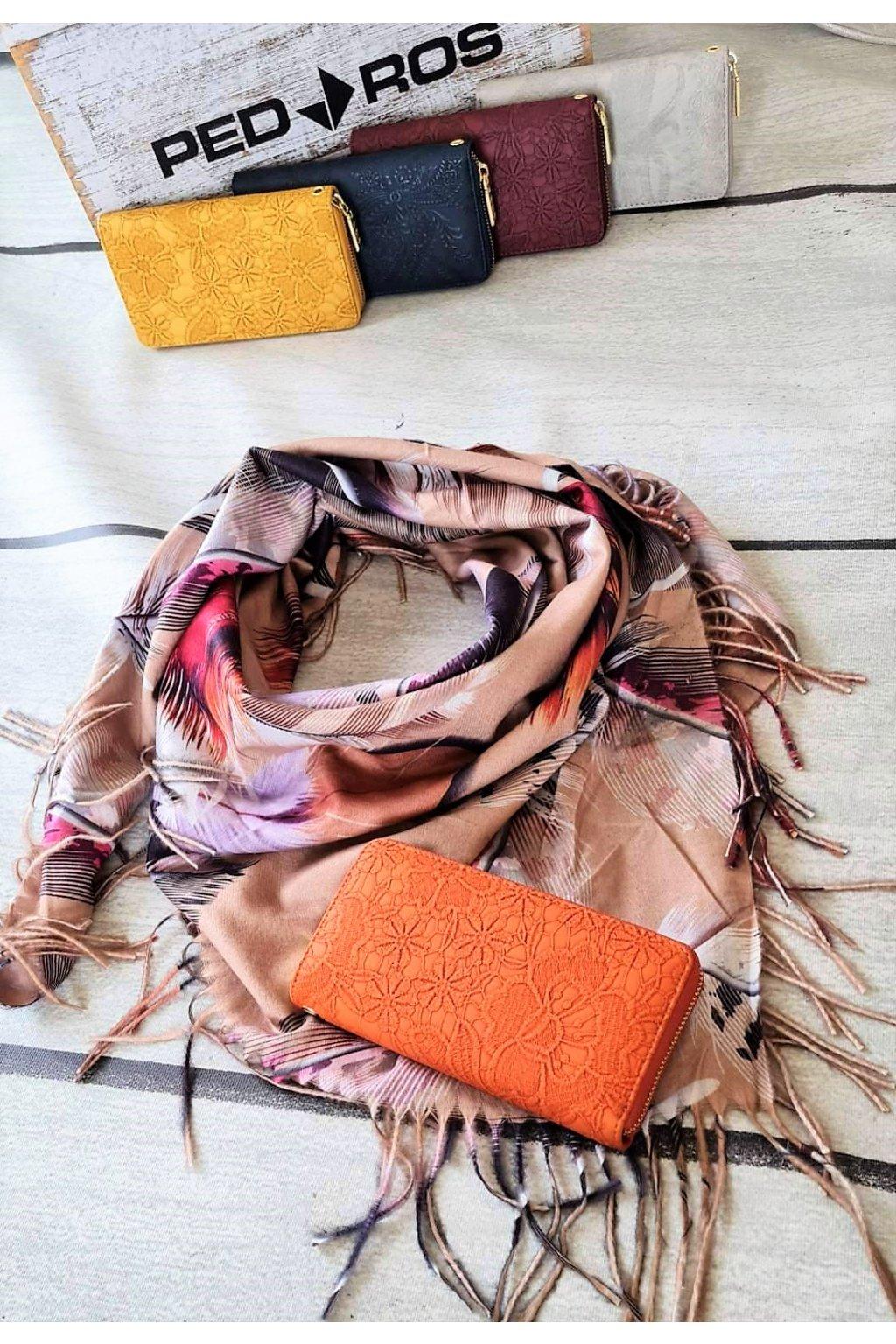 Set šatku a peněženky béžová a oranžová