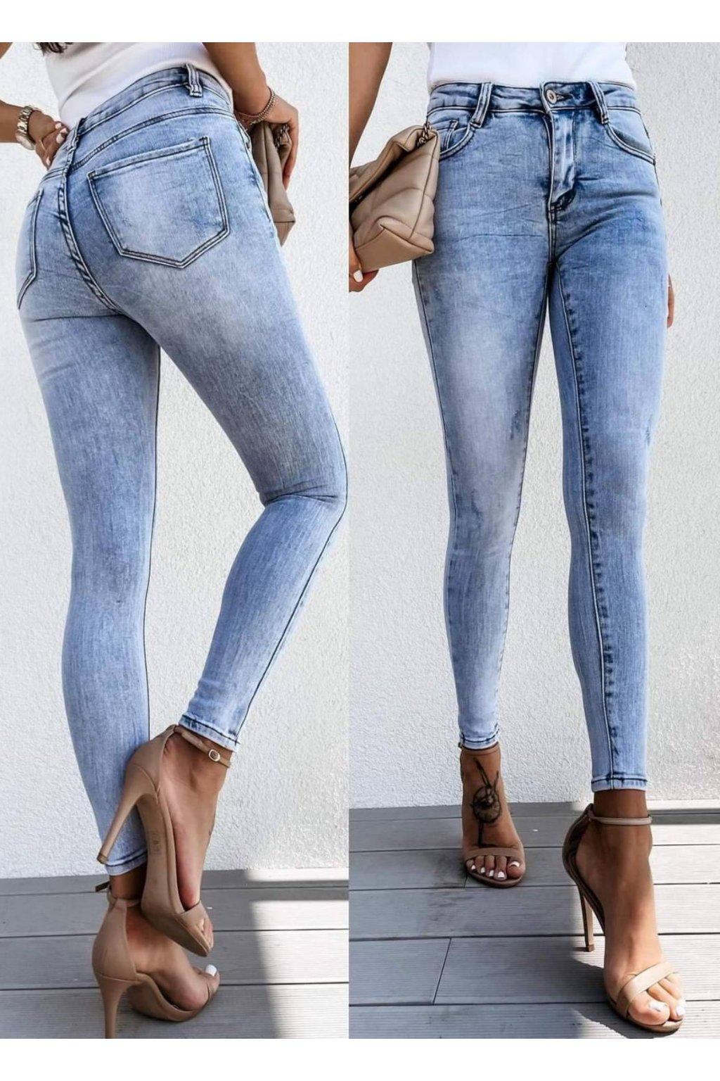 jeans modré světle trendy strechové elastické