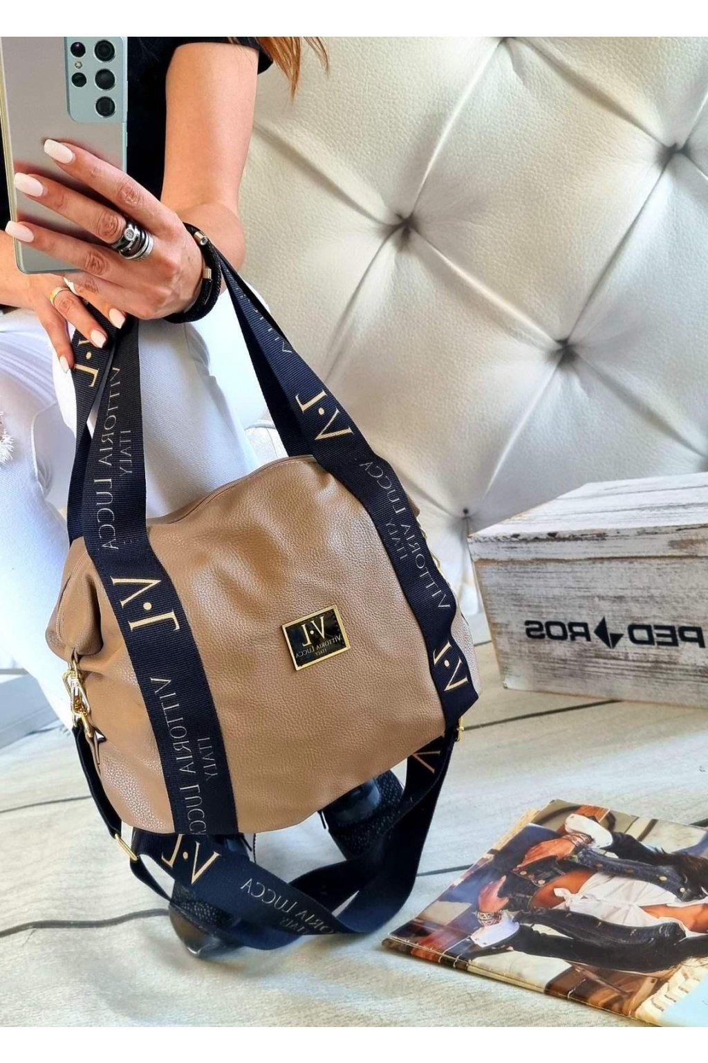 kabelka vittoria lucca fashion tmavě béžová značková exklusivní kabelka trendy
