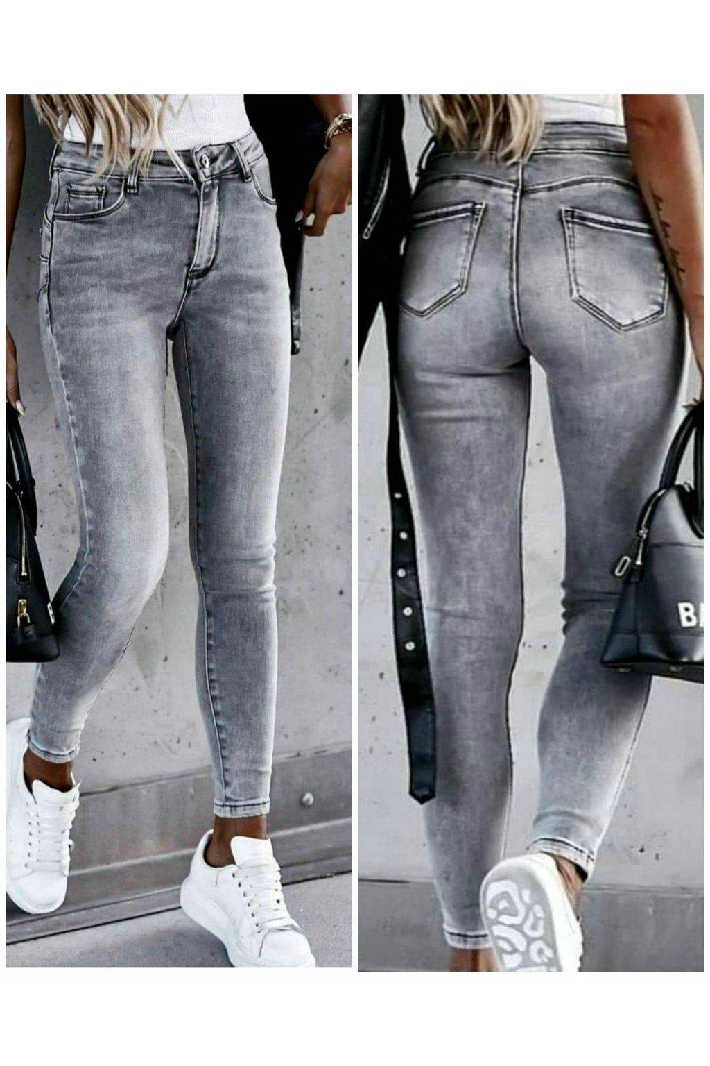 Dámské trendy modní elastické jeansy šedé