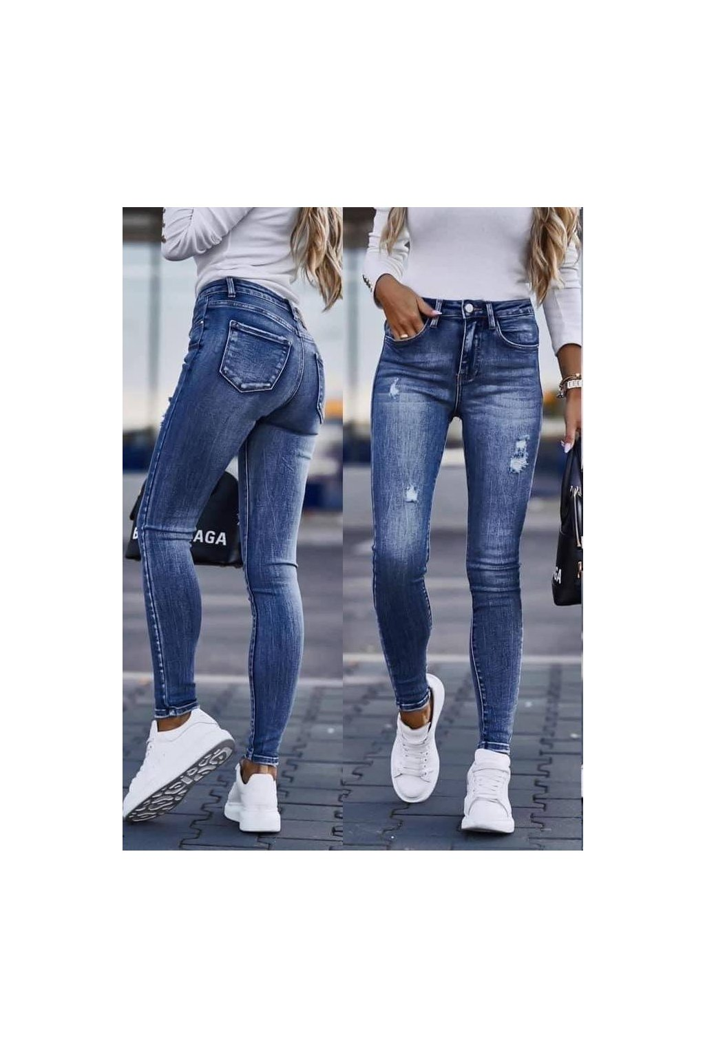 Trendy modrní elastické dámské jeansy