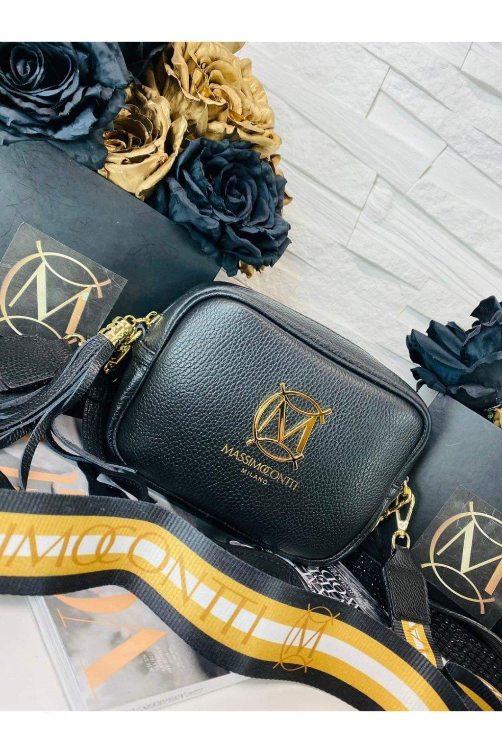 dámská kožená crossbody luxusní kožená kabelka italy fashion černá