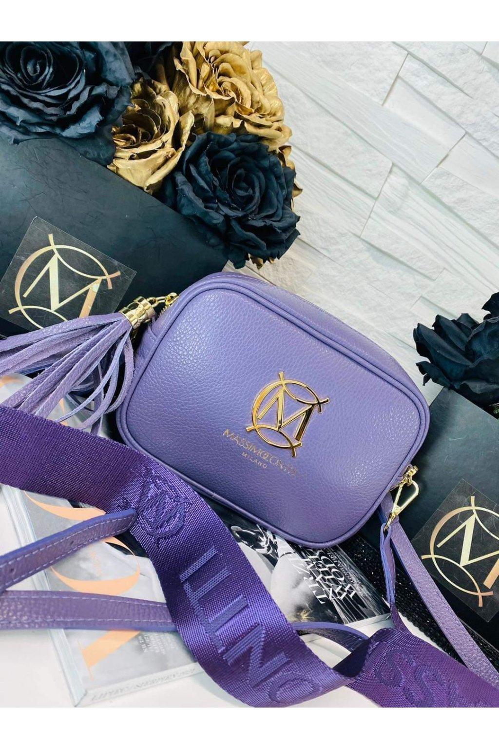 dámská kožená crossbody luxusní kožená kabelka italy fashion fialová