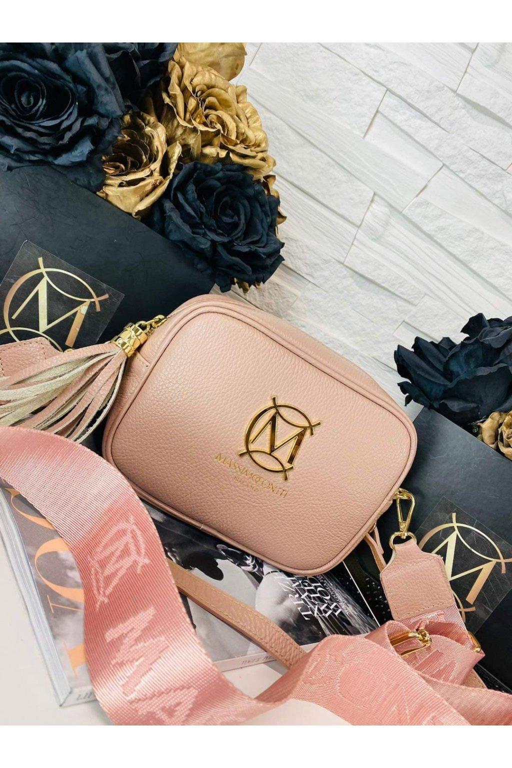dámská kožená crossbody luxusní kožená kabelka italy fashion růžová