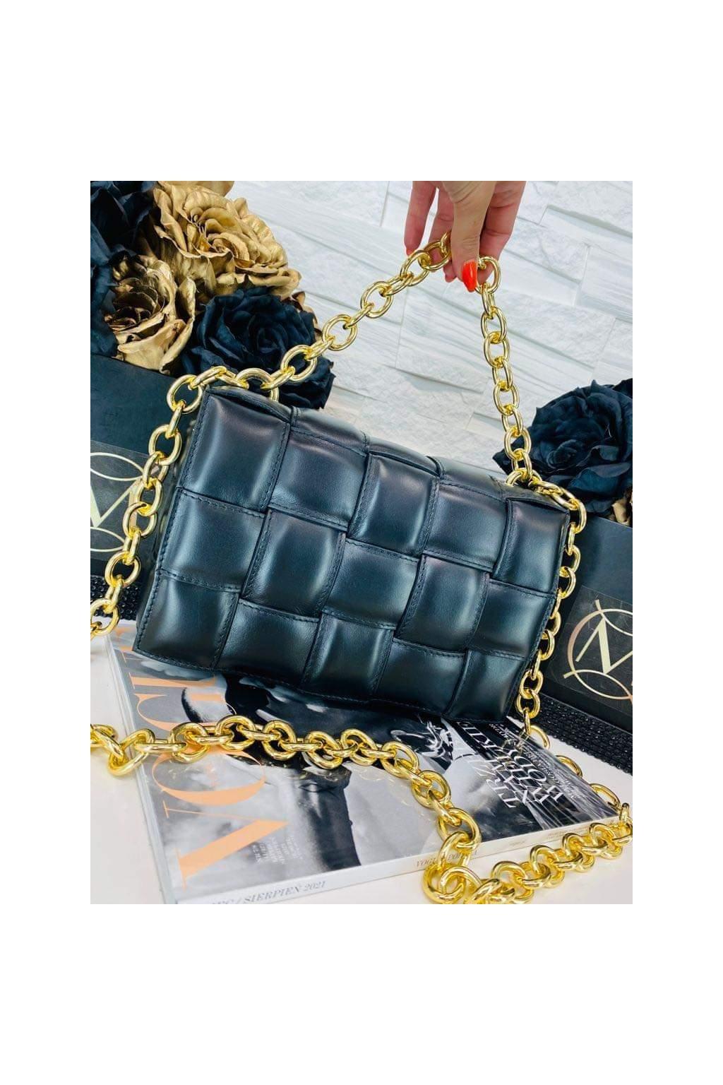 dámská kožená crossbody luxusní kožená s řetězem kabelka italy fashion černá