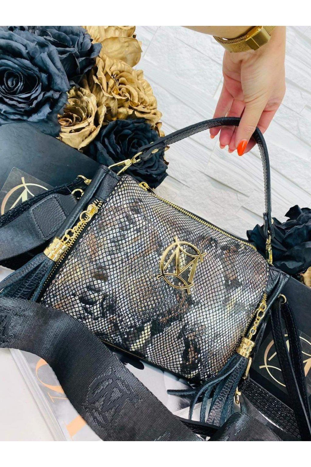 dámská kožená crossbody kabelka luxusní kožená kabelka italy fashion hadí kůže