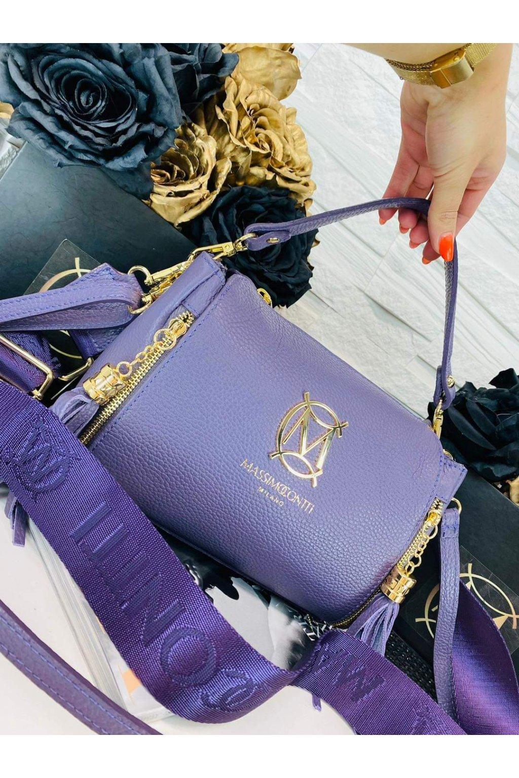 dámská kožená crossbody kabelka luxusní kožená kabelka italy fashion fialová barva