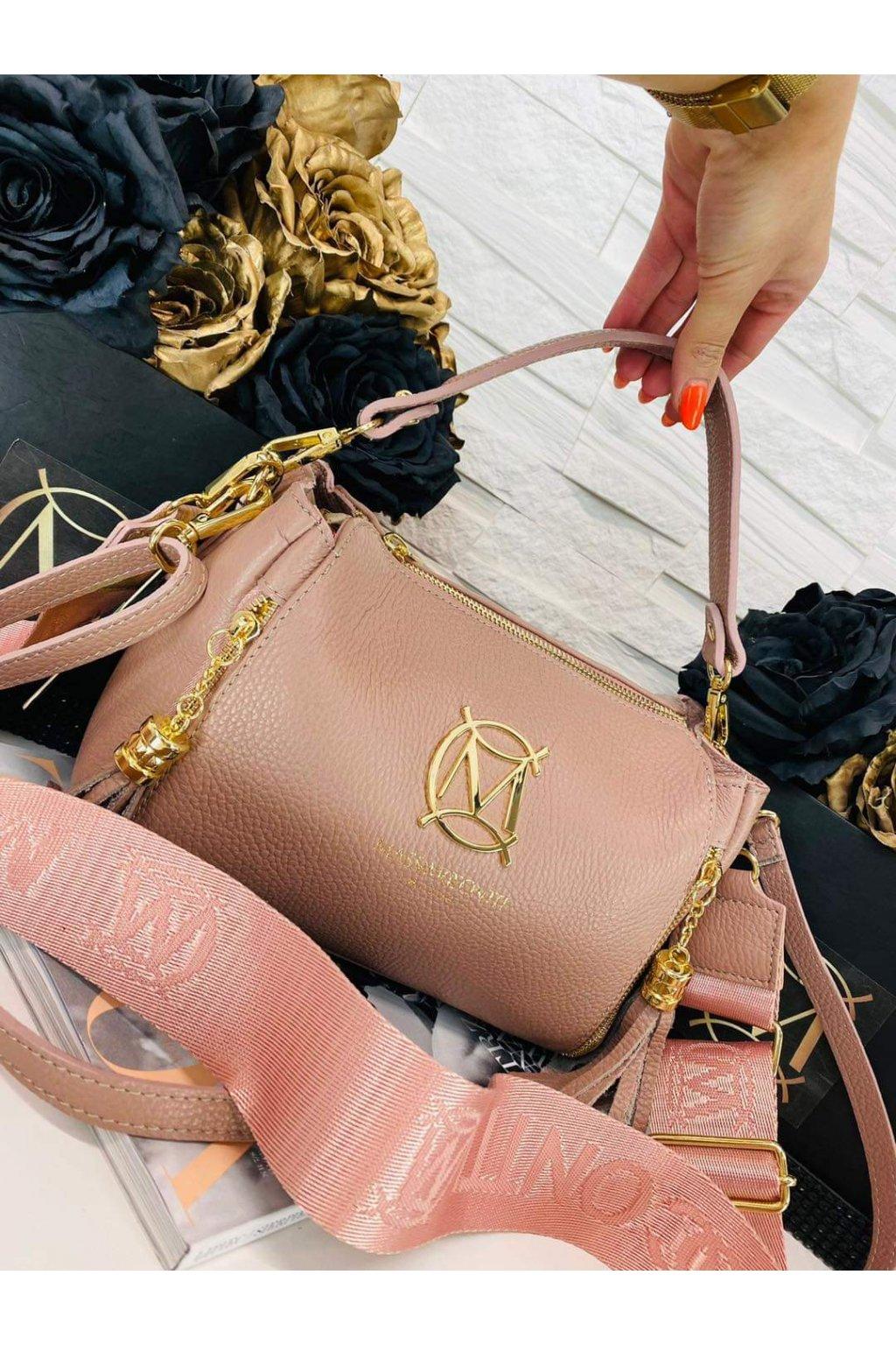 dámská kožená crossbody kabelka luxusní kožená kabelka italy fashion pudrová barva