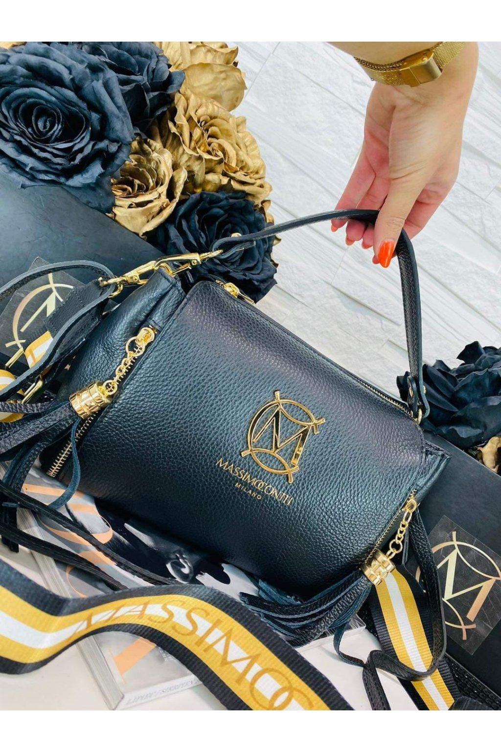 dámská kožená crossbody kabelka luxusní kožená kabelka italy fashion černá barva