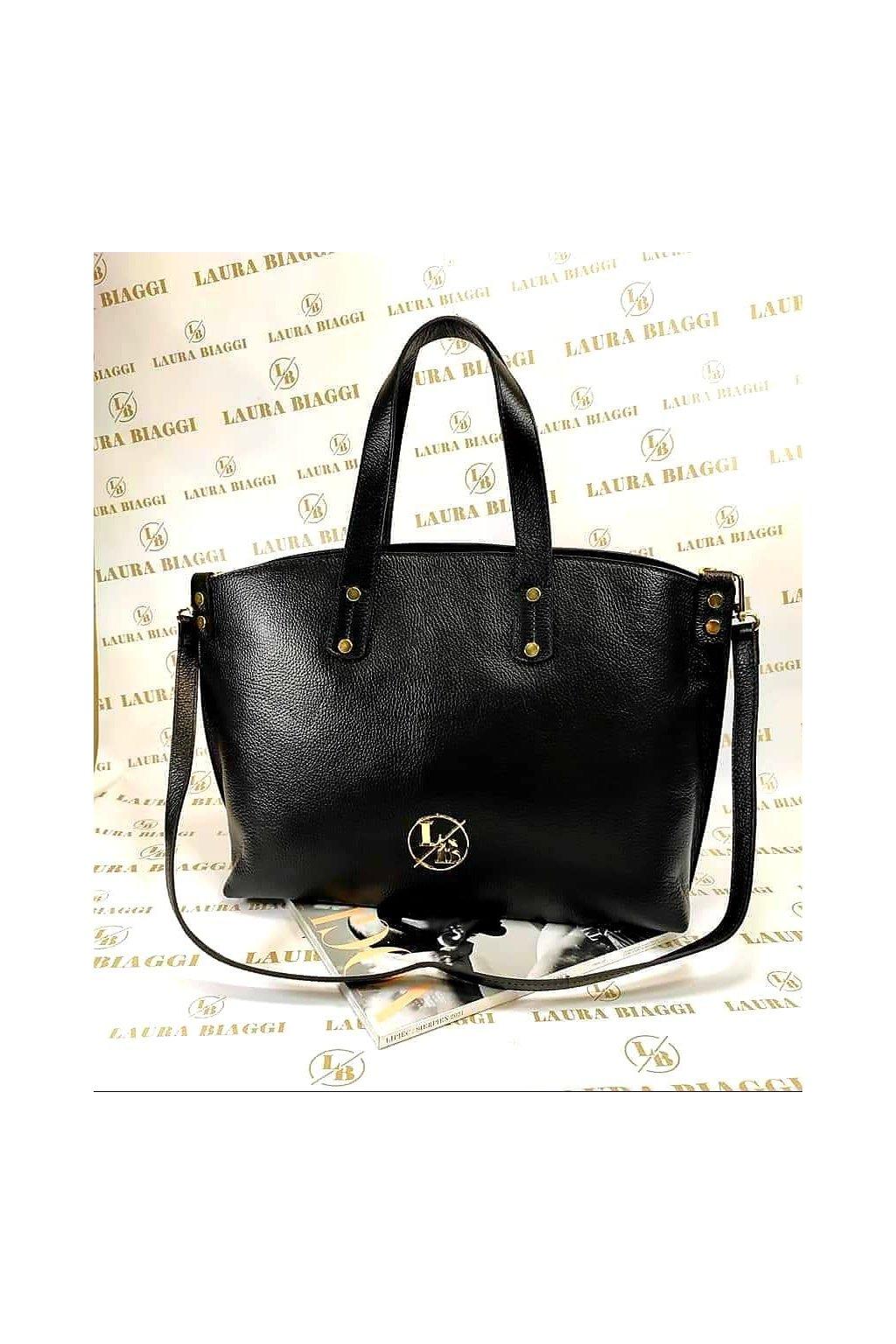 kabelka Laura biaggi kůže exklusivní kabelka značková kožená černá