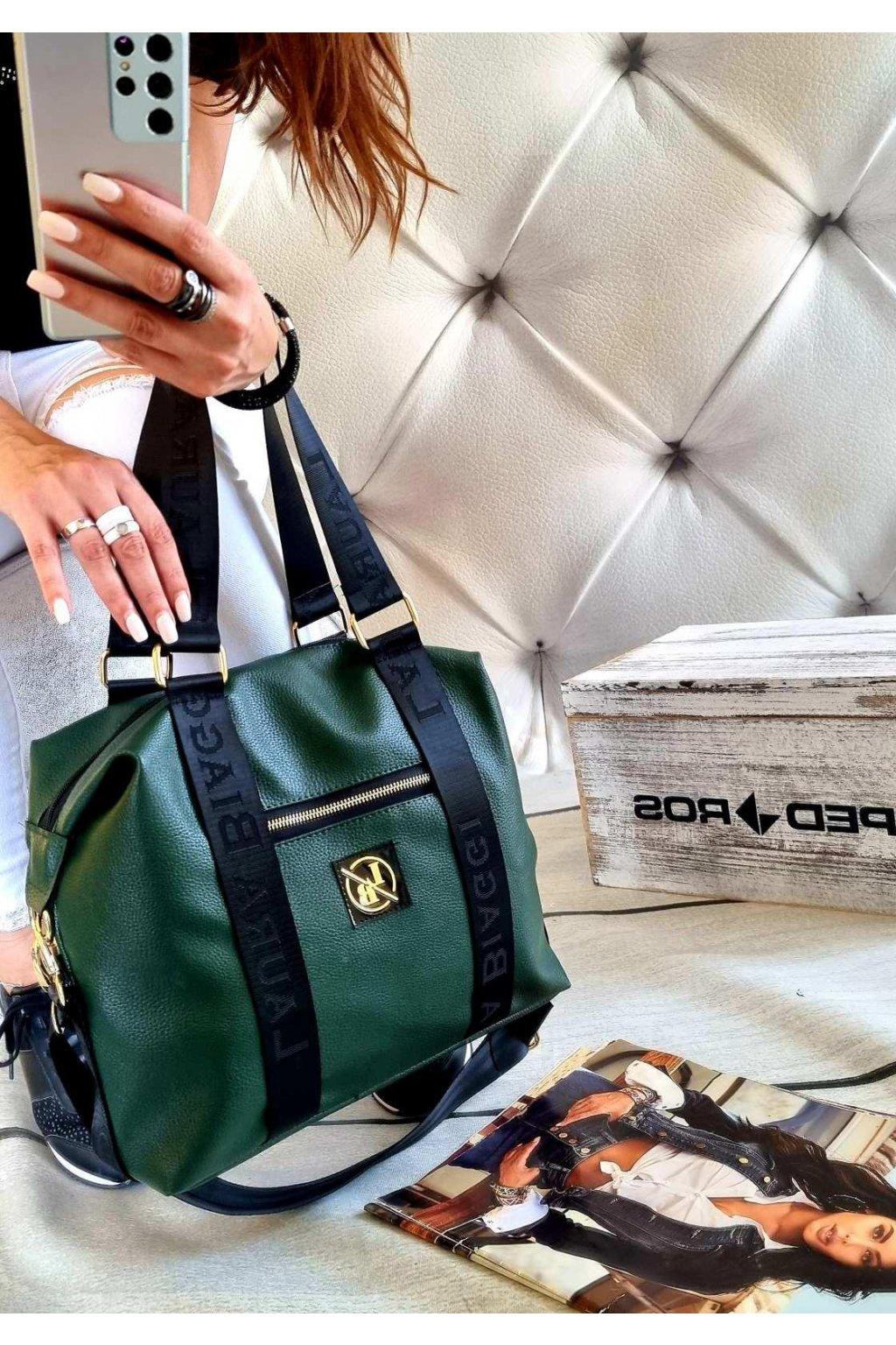 kabelka laura biaggi fashion zelená značková exklusivní kabelka trendy green