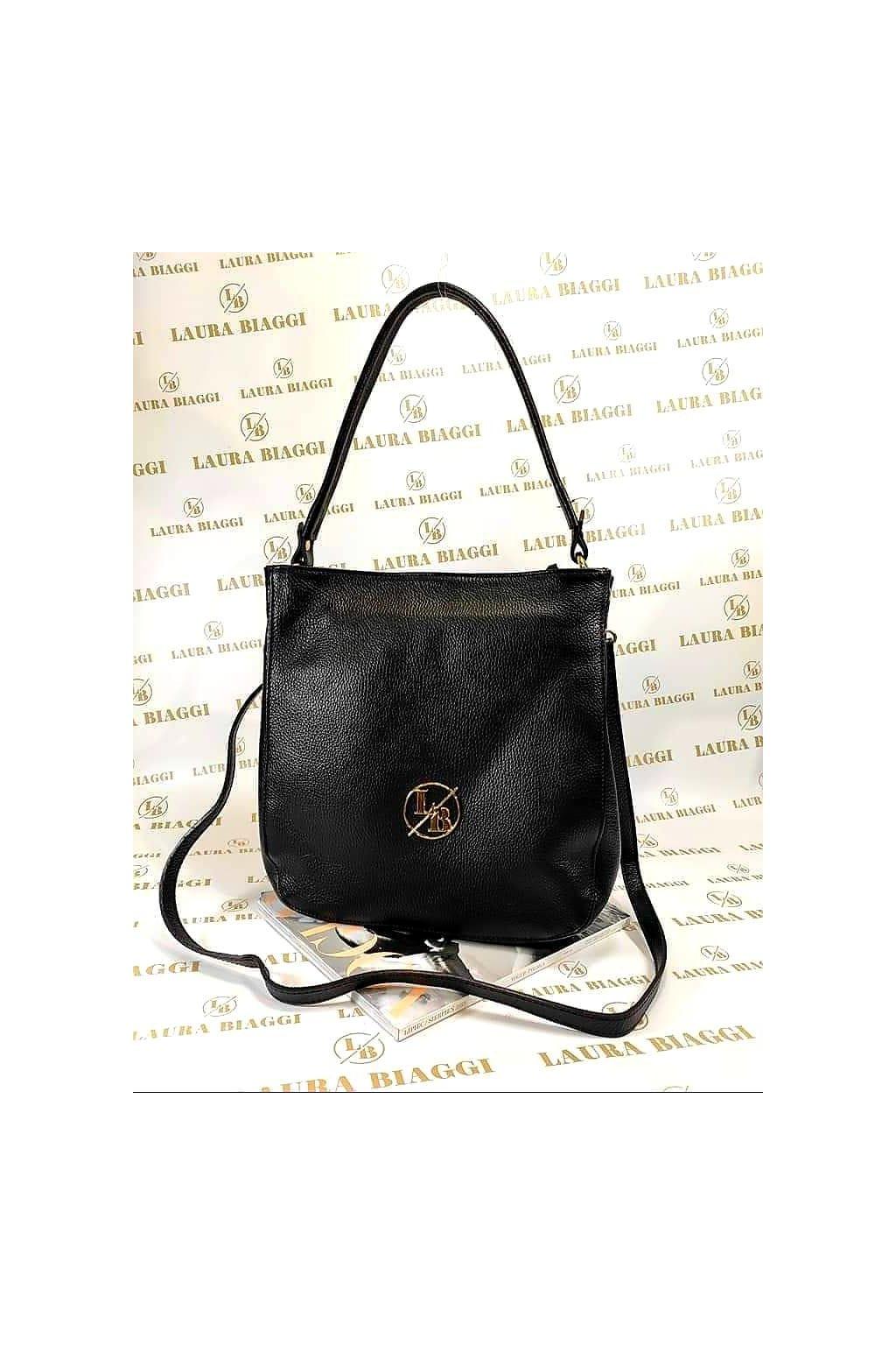 kabelka kůže laura biaggi luxusní kžená kabelka značková vyrobena v itálii černá black