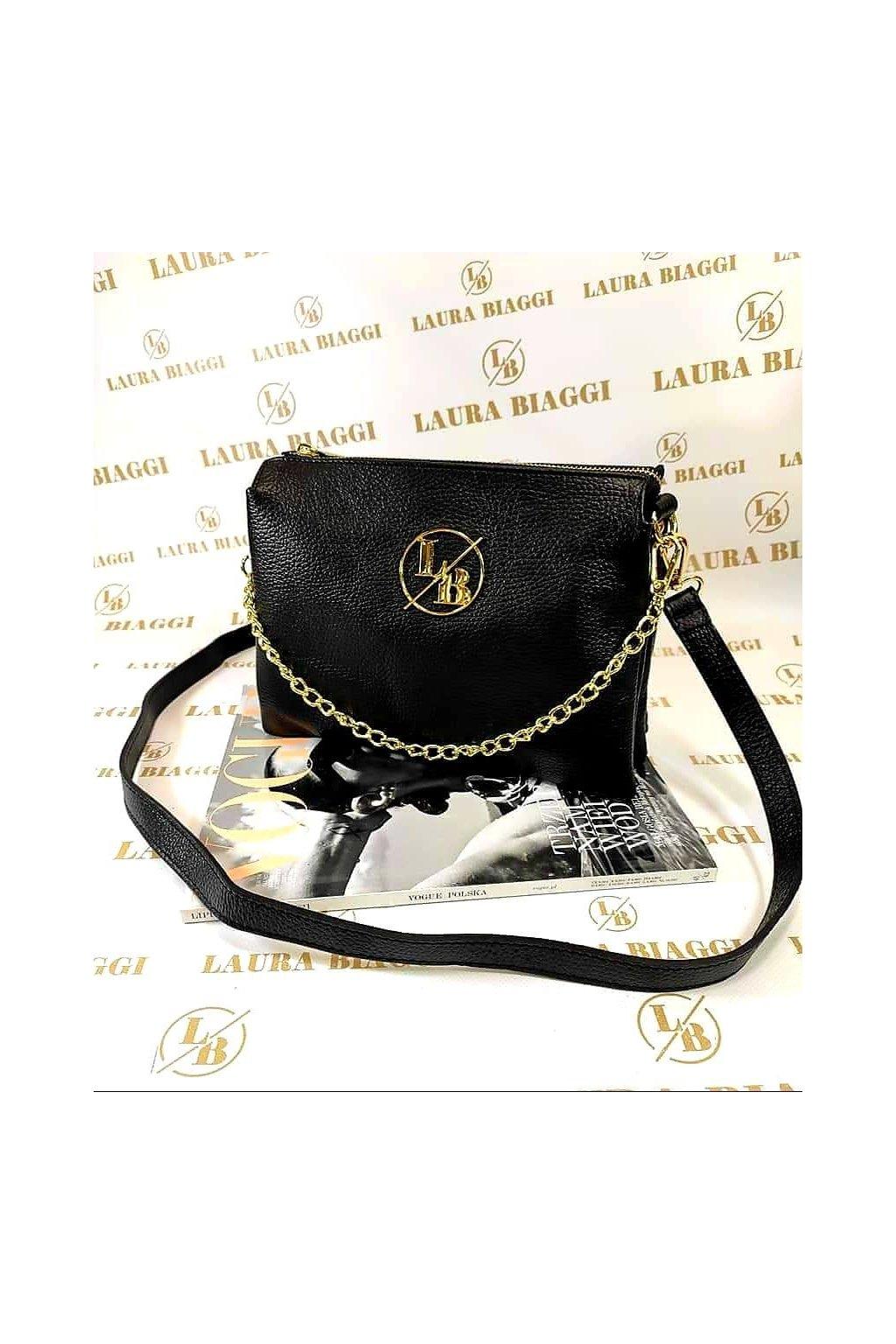 kabelka kůže laura biaggi luxusní kožená kabelka crossbody značková vyrobena v itálii černá