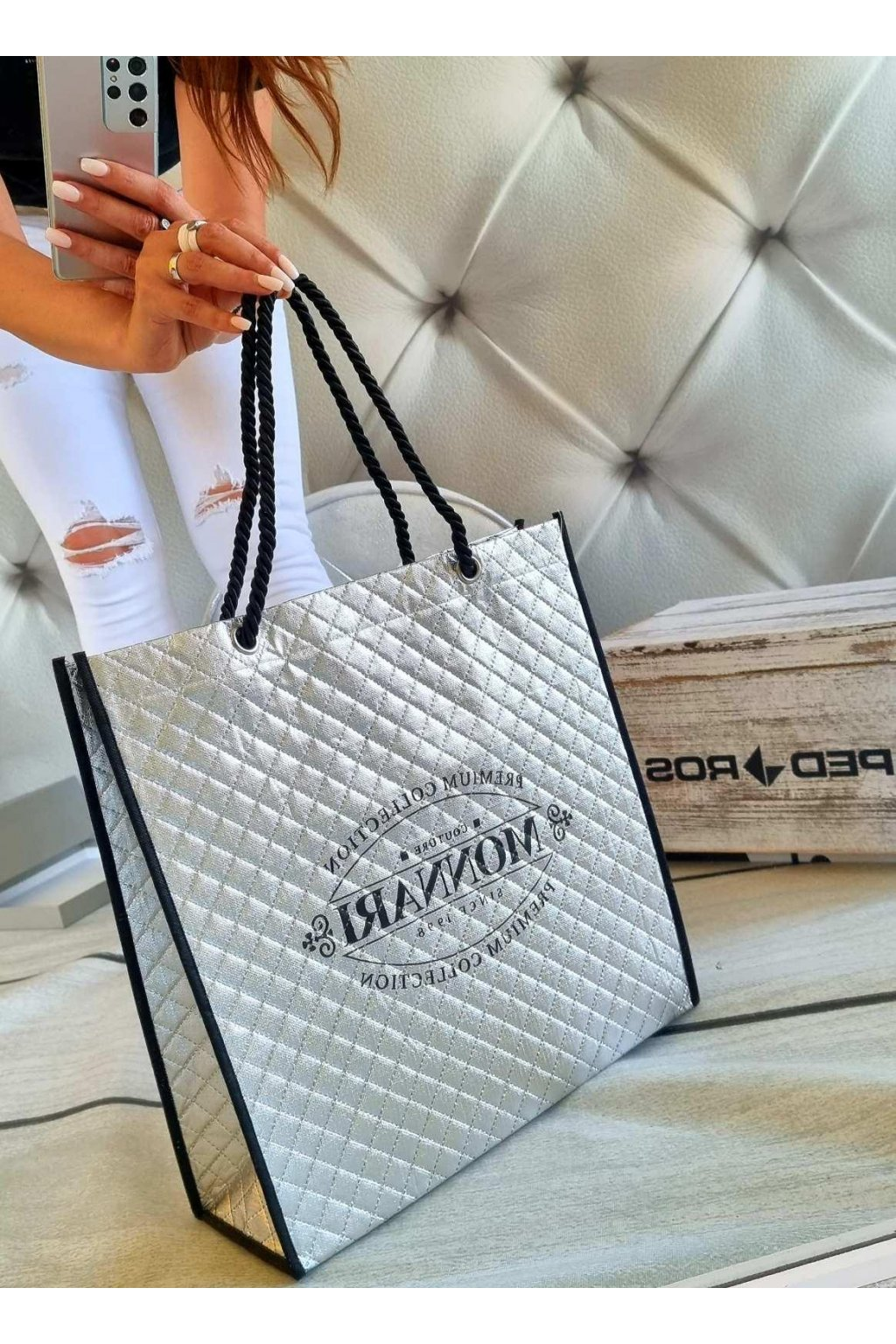 nákupní taška monnari stříbrná
