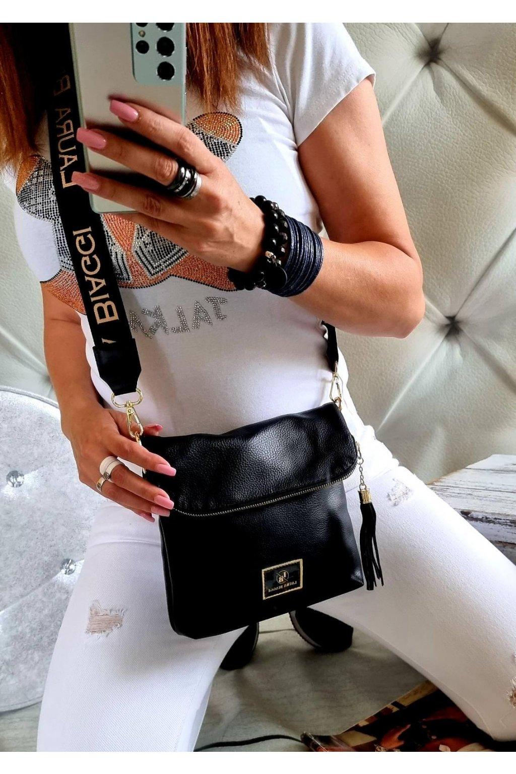 crossbody luxusní značková kabelka laura biaggi černá klopna