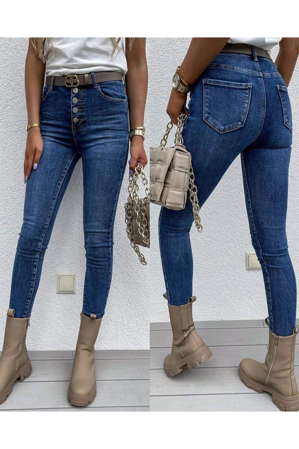 dámské jeans s knoflíčky tmavě modré trendy