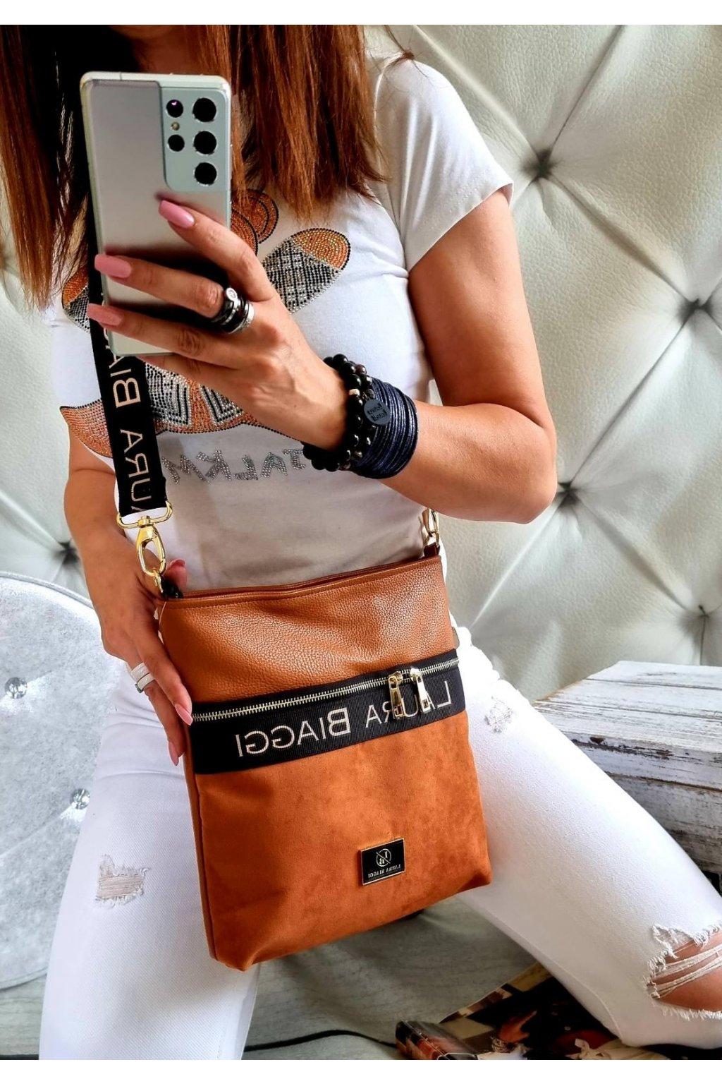 crossbody luxusní značková kabelka laura biaggi koňaková