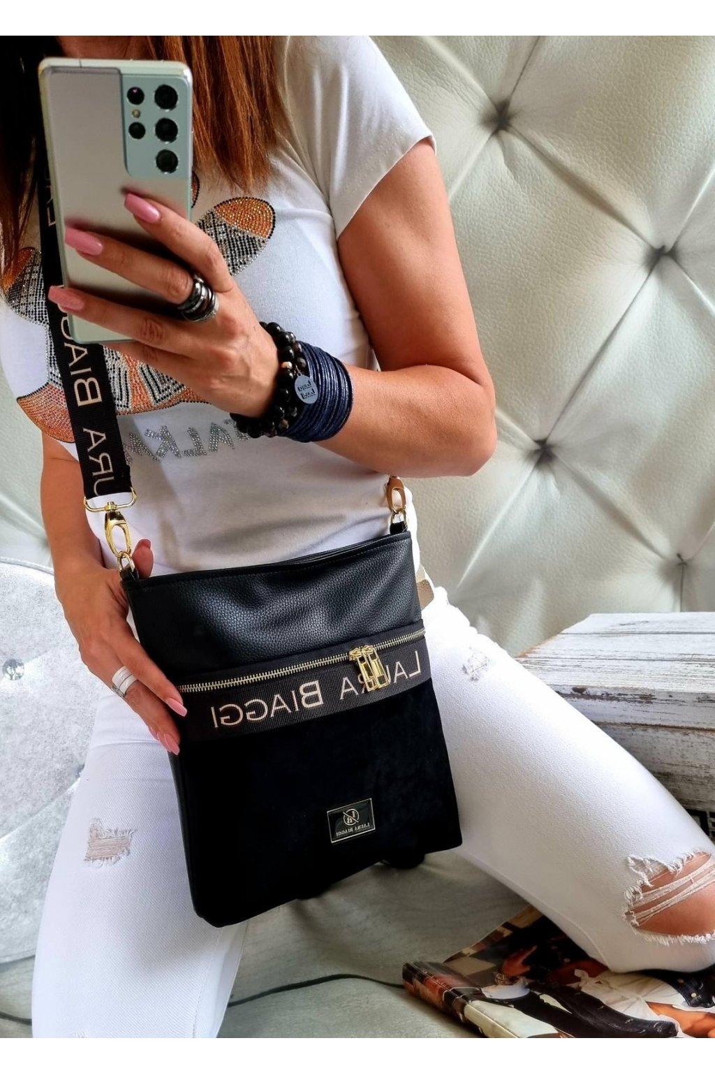 crossbody luxusní značková kabelka laura biaggi černá
