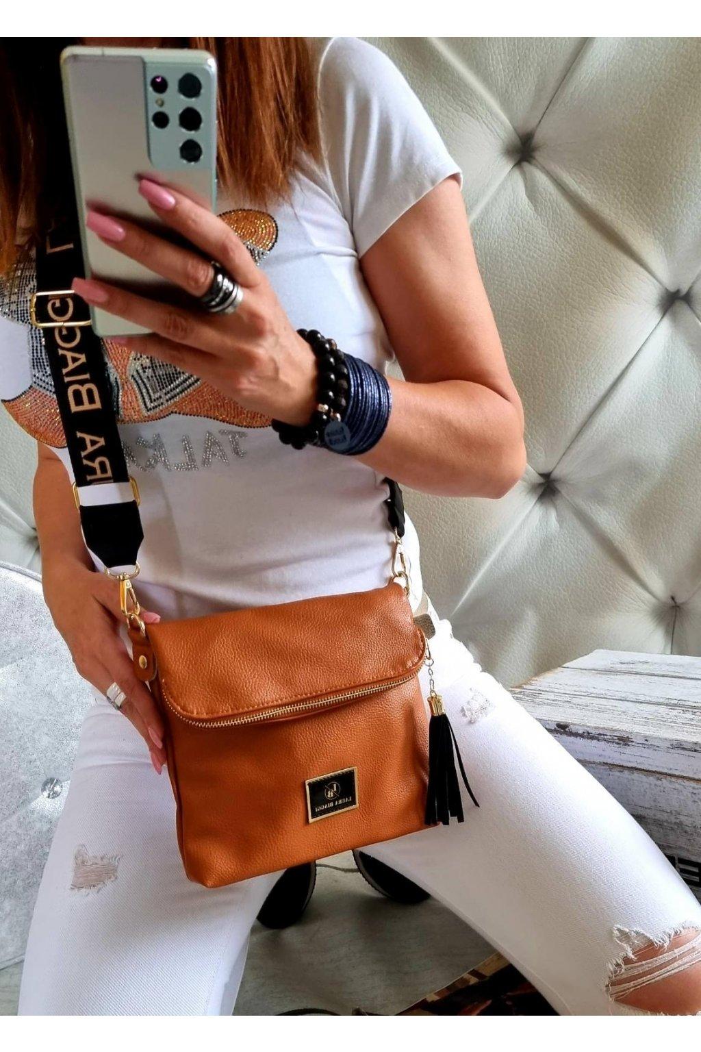 crossbody luxusní značková kabelka laura biaggi koňak klopna