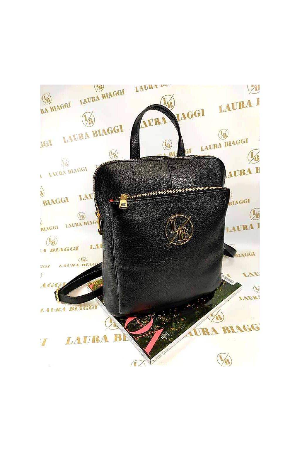 Dámský elegantní kožený batoh Laura Biaggi černý