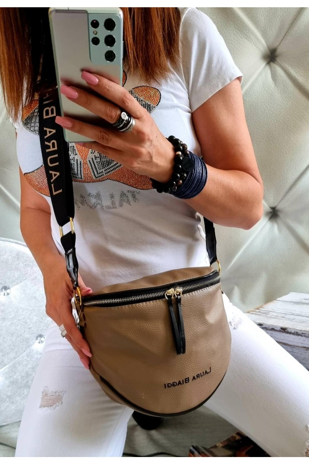 KATYS béžová crossbody luxusní značková kabelka laura biaggi