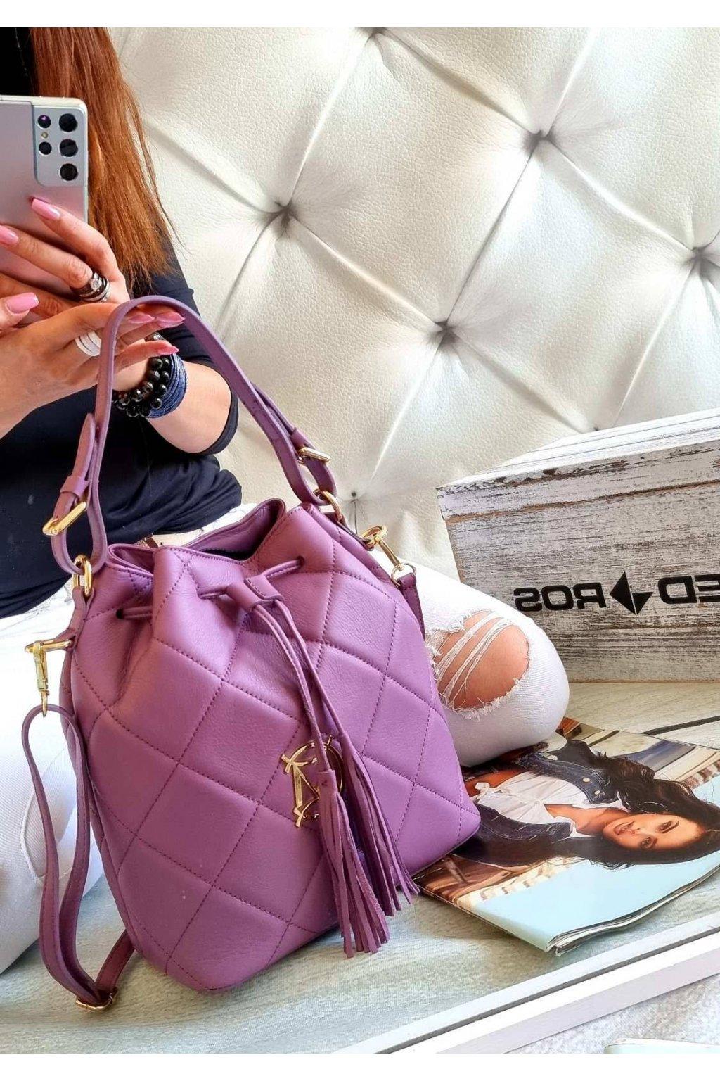 Luxusní dámský kožený vak Massimo lila