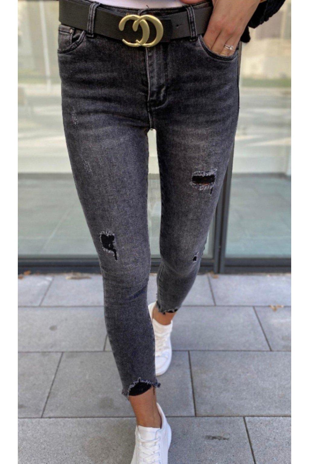 jeans tmavě šedé jemně trhané větší velikosti trendy