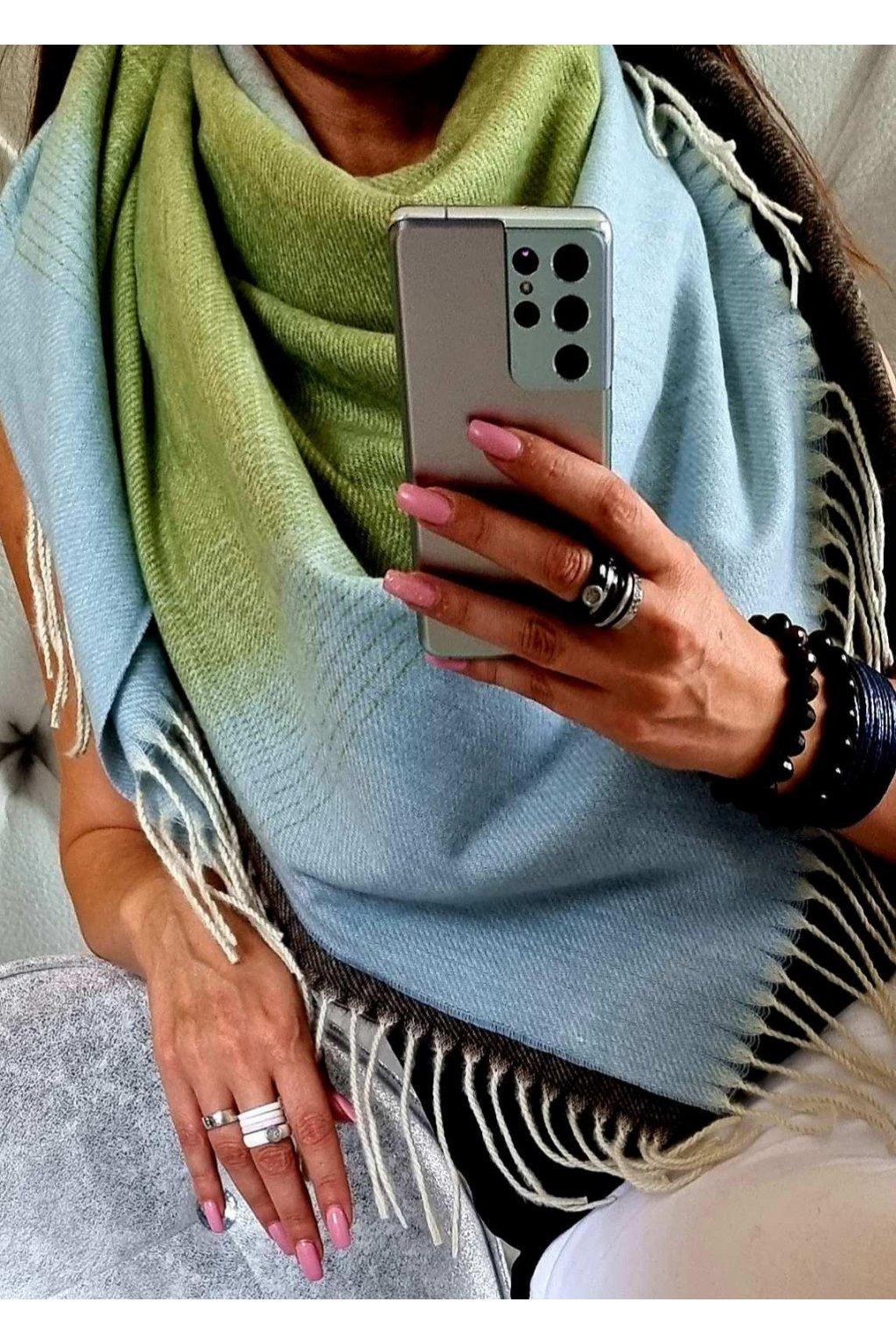 šátek trendy florence zelenomodrohnědý