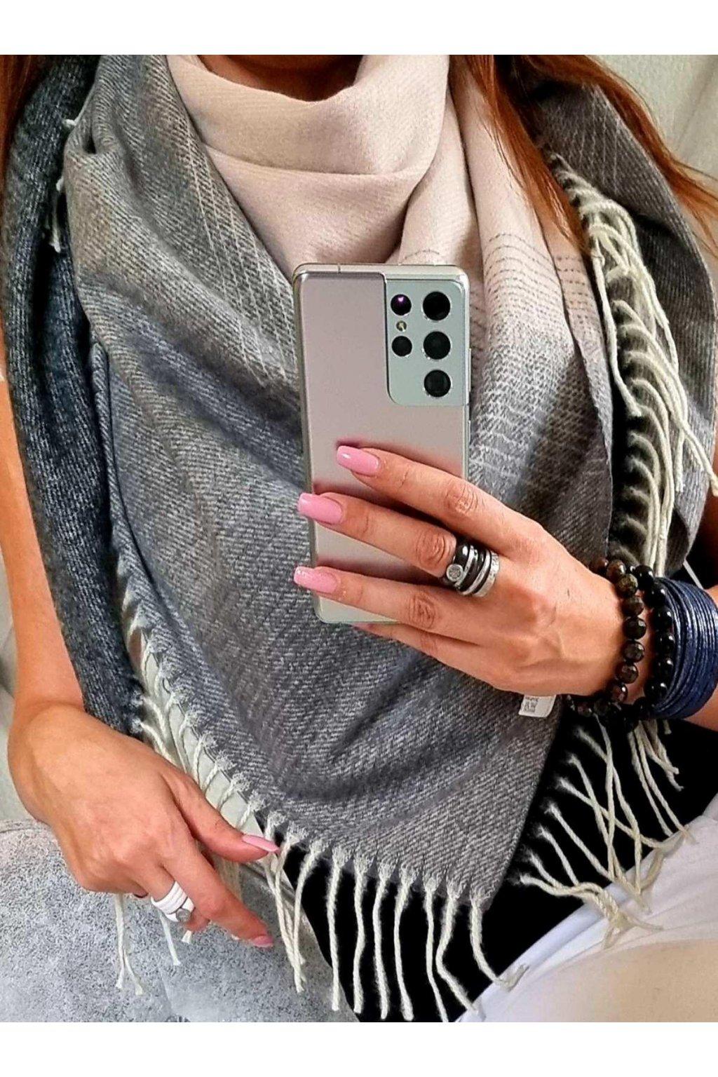 šátek trendy florence černošedorůžový vlna