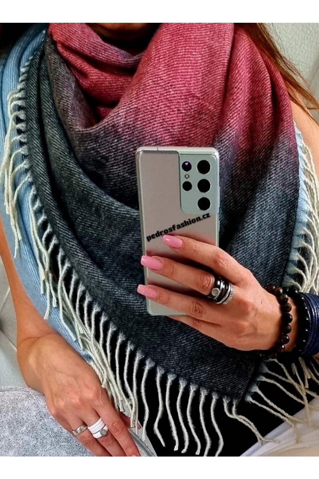 šátek trendy florence černobordomodrý vlna teplý maxi šátek
